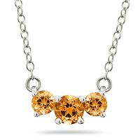 1.00 CTW Citrine Three Stone Pendant Necklace 14K White Gold