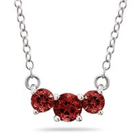 1.00 CTW Garnet Three Stone Pendant Necklace 14K White Gold
