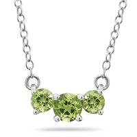 1.00 CTW Peridot Three Stone Pendant Necklace 14K White Gold