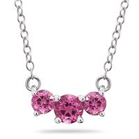 1.00 CTW Pink Topaz Three Stone Pendant Necklace 14K White Gold