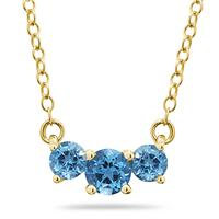 1.00 CTW Blue Topaz Three Stone Pendant Necklace 14K Yellow Gold
