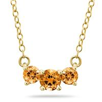 1.00 CTW Citrine  Three Stone Pendant Necklace 14K Yellow Gold