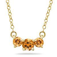 1.00 CTW Citrine  Three Stone Pendant Necklace 14K Yellow Gold