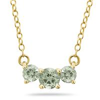 1.00 CTW Green Amethyst Three Stone Pendant Necklace 14K Yellow Gold
