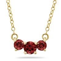 1.00 CTW Garnet Three Stone Pendant Necklace 14K Yellow Gold
