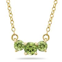 1.00 CTW Peridot Three Stone Pendant Necklace 14K Yellow Gold