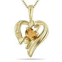 Citrine  and Diamond Heart MOM Pendant in 10K Yellow Gold