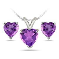 2.40 Carat All Natural Heart Shaped Amethyst Stud Jewelry Set in .925 Sterling Silver