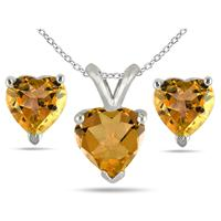 2.40 Carat All Natural Heart Shaped Citrine Stud Jewelry Set in .925 Sterling Silver