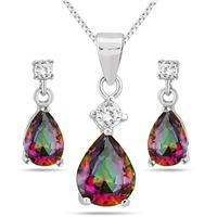 4.25 Carat Natural Rainbow Topaz Pendant and Earring Set in .925 Sterling Silver
