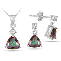 3.75 Carat Trillion Cut Natural Mystic Rainbow Topaz Set in .925 Sterling Silver