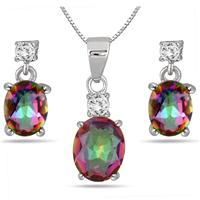 3.75 Carat Natural Rainbow Topaz Pendant and Earring Set in .925 Sterling Silver