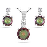 4.30 Carat Mystic Rainbow and White Topaz Earring and Pendant Set in .925 Sterling Silver