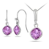 2.10 Carat Amethyst and Diamond Pendant and Earring Set in .925 Sterling Silver