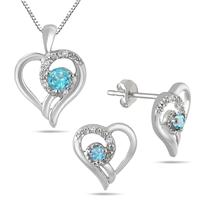 Blue Topaz and Diamond Heart Jewelry Ensemble in .925 Sterling Silver
