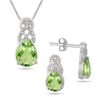 3.75 Carat All Natural Peridot and Diamond Jewelry Set in .925 Sterling Silver