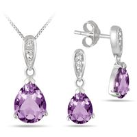 2.15 Carat Pear Shape Amethyst and Diamond Pendant and Earring Set in .925 Sterling Silver