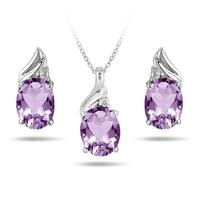 3.25 Carat All Natural Amethyst and Diamond Matching Set in .925 Sterling Silver