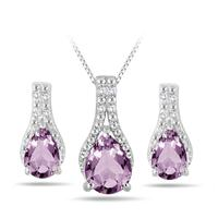 2.50 Carat Amethyst and Diamond Jewelry Set in .925 Sterling Silver