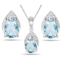 3.00 Carat T.W Blue Topaz and Diamond Jewelry Set in .925 Sterling Silver