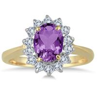 Morning Glory Oval Amethyst & Diamond Ring