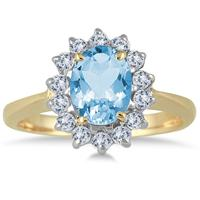 Morning Glory Oval Blue-Topaz & Diamond Ring