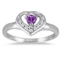 1/3 Carat Amethyst and Diamond Heart Ring in 14K White Gold