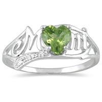 Peridot and Diamond Heart Shaped MOM Ring