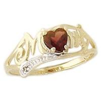 Garnet and Diamond Heart Shaped MOM Ring