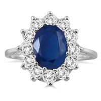 1 Carat Diamond and Sapphire Ring in 14K White Gold