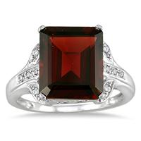 6.75 Carat Emerald Cut Garnet and Diamond Ring in 10K White Gold