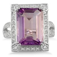 7 Carat Emerald Cut Amethyst and Diamond Ring in .925 Sterling Silver