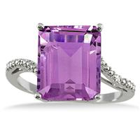 5.50 Carat Emerald Cut Amethyst and Diamond Ring in .925 Sterling Silver
