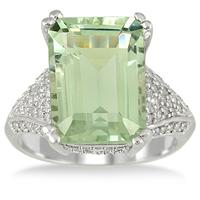 7.20 Carat Emerald Cut Green Amethyst and Diamond Ring in 10K White Gold