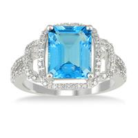 4 3/4 Carat Emerald Cut Blue Topaz and Diamond Ring in 10K White Gold