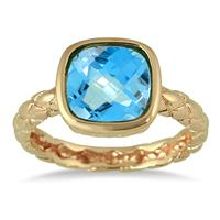 3.00 Carat Cushion Cut Blue Topaz ring in 18K Gold Plated Brass