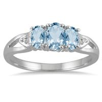1.00 Carat Three Stone Blue Topaz and Diamond Ring in .925 Sterling Silver