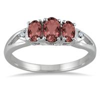 1.00 Carat Three Stone Garnet and Diamond Ring in .925 Sterling Silver
