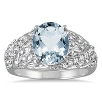 2.25 Carat Oval Aquamarine and Diamond Ring in 10K White Gold