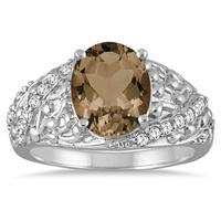 2.33 Carat Oval Smokey Quartz and Diamond Ring in 10K White Gold