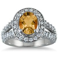 2.00 Carat TW Oval Citrine and Diamond Ring in 14K White Gold