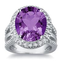 7.50 Carat Oval Cut Amethyst and Diamond Ring in 14K White Gold