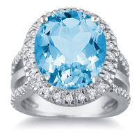 7.50 Carat Oval Cut Blue Topaz and Diamond Ring in 14K White Gold