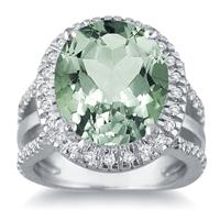 7.50 Carat Oval Cut Green Amethyst and Diamond Ring in 14K White Gold