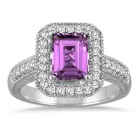 1.75 Carat Emerald Cut Amethyst  and Diamond Ring in 14k White Gold