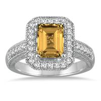 1.75 Carat Emerald Cut  Citrine and Diamond Ring in 14k White Gold