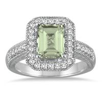 1.75 Carat Emerald Cut Green Amethyst  and Diamond Ring in 14k White Gold
