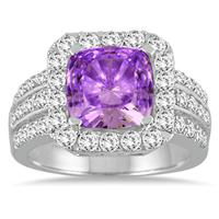 4.00 Carat TW Cushion Cut Amethyst and Diamond Ring in 14K White Gold