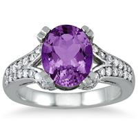 3.00 Carat Oval Amethyst and Diamond Ring in 10K White Gold