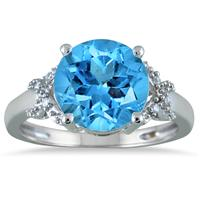 3.50 Carat Round Blue Topaz and Diamond Ring in 10K White Gold